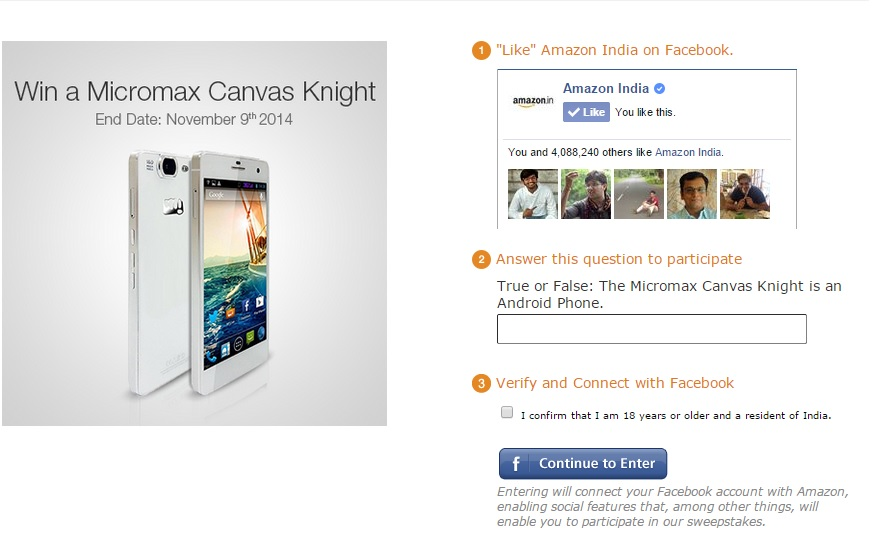 Amzon on 29th oct relased a contest about Micromax Canvas Knight.